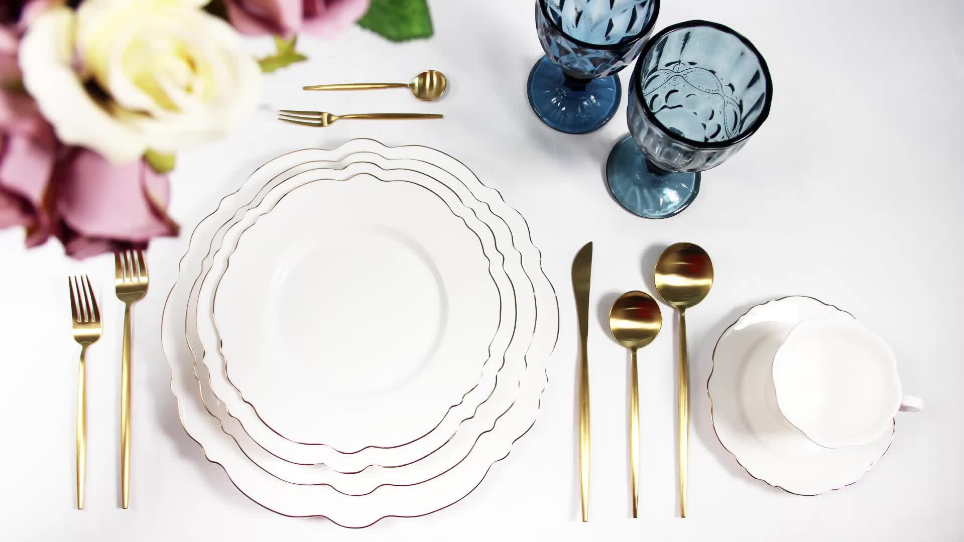 Hotel banquet white custom european style porcelain fine bone china dinnerware set