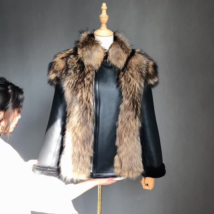 black hooded leather lamb shearling fashion moto jacket with fur for woman