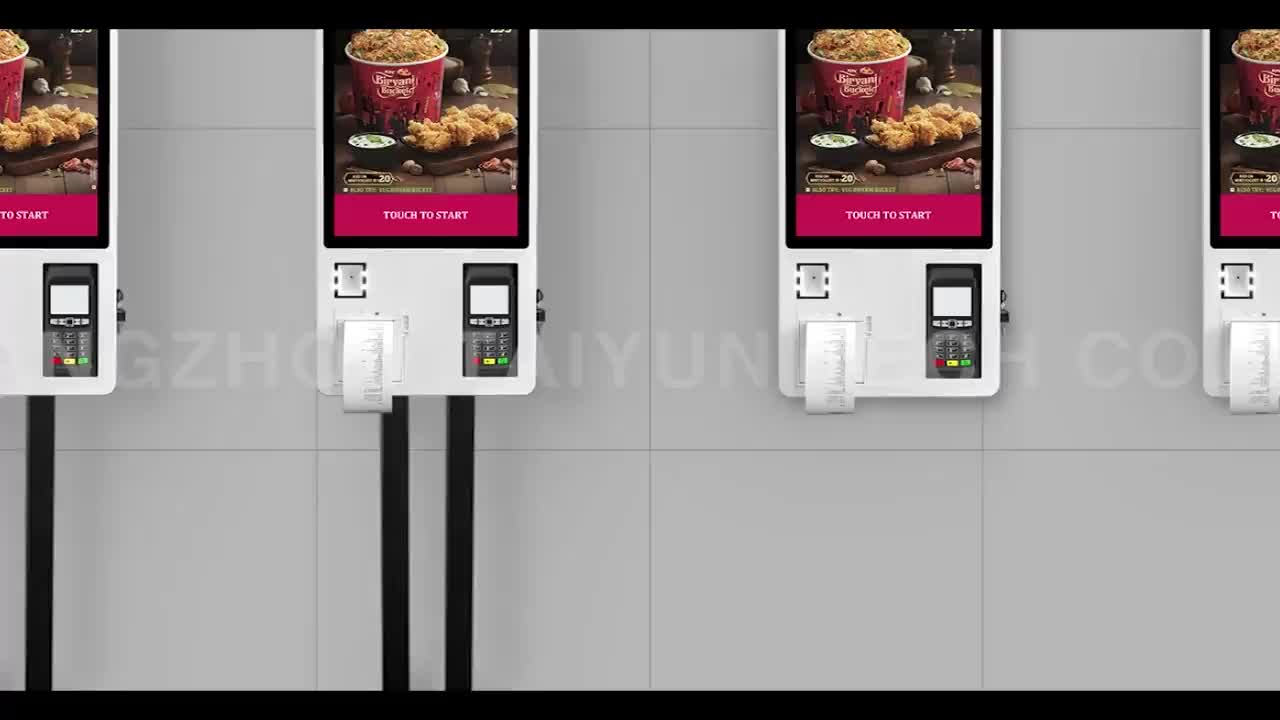 24 Inch Self Service Terminal Kiosk Fast Food Self Payment Ordering Kiosk In Restaurant With Thermal Printer