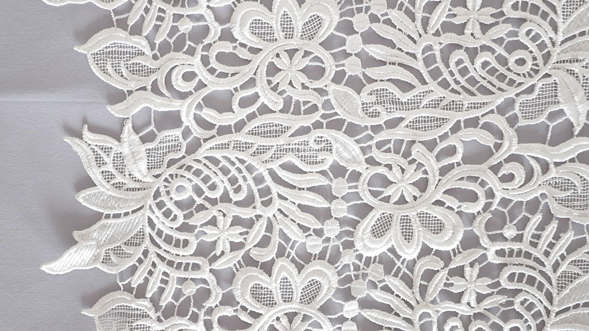 Wholesale 100% polyester embroidery chemical lace for wedding dress 135cm cord lace bridal fabric