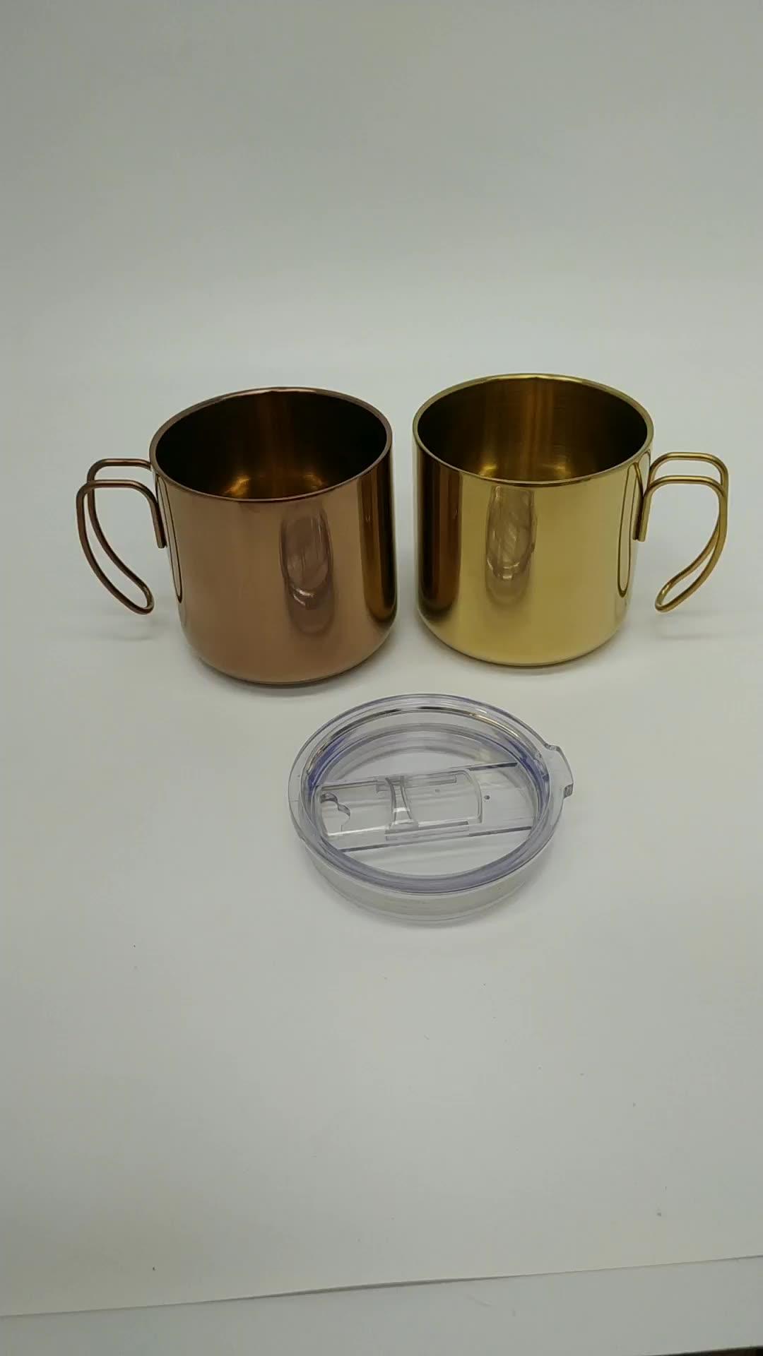 350ml paslanmaz çelik gül altın kahve kupa tel kanca kolu