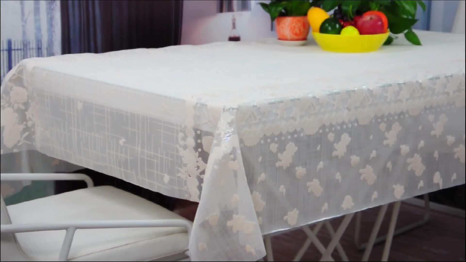 Blanc et impression nappe de dentelle de pvc en rouleau pvc nappe