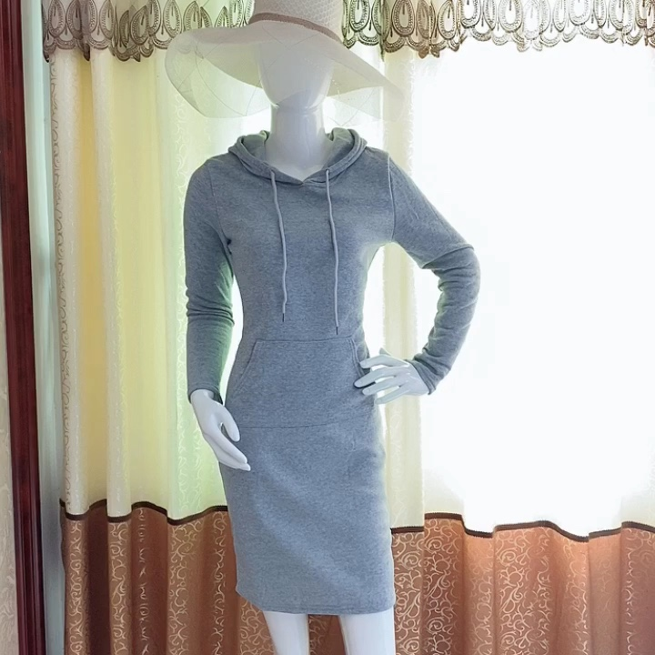 2020 new arrivals New Slim long sleeves hoodie Striped causal dresses with pockets