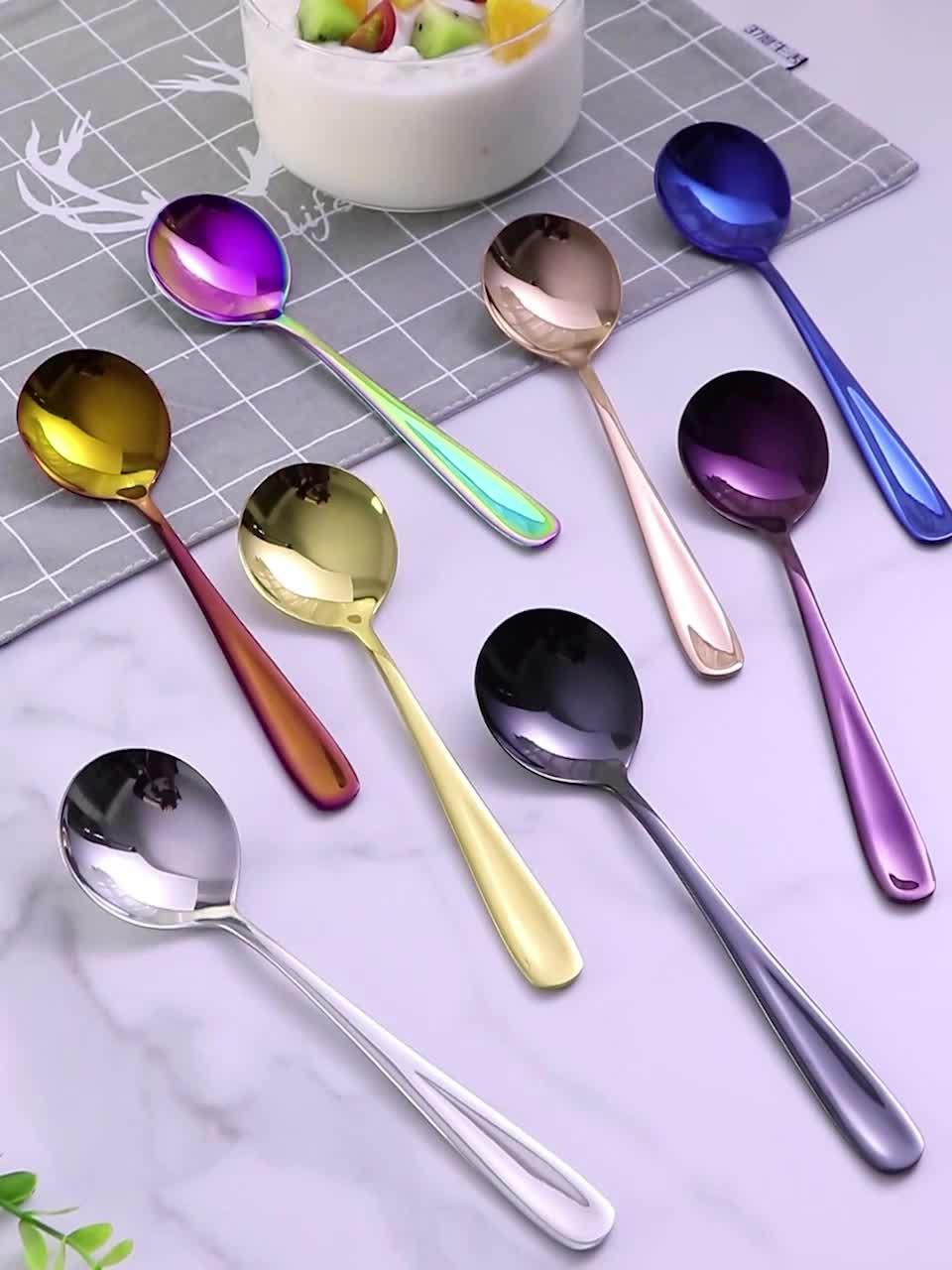Wiederverwendbare PVD titan metall edelstahl goldene eis honig dessert tee kaffee salat runde löffel für kinder