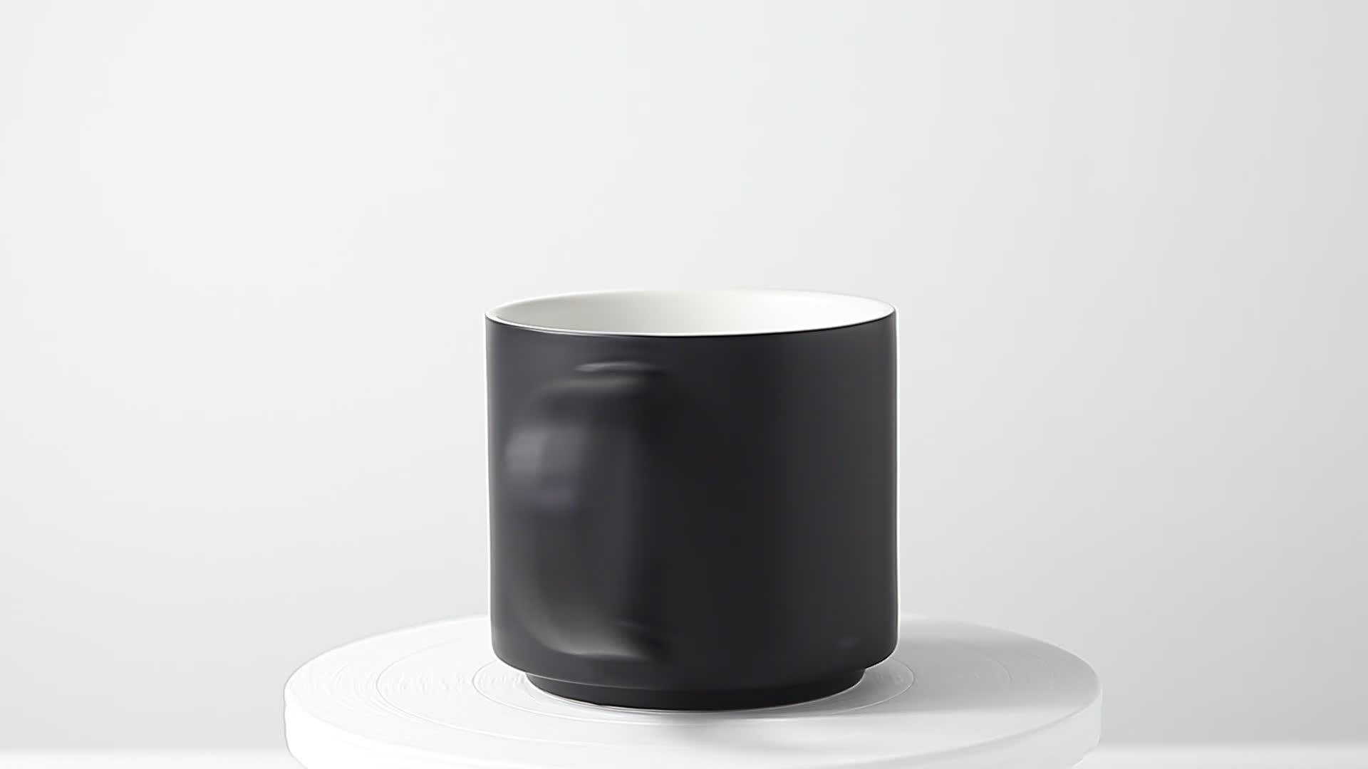 Commercio all'ingrosso di 12OZ nero di grandi dimensioni in ceramica impilabile cappuccino tazza di caffè set con manico logo personalizzato tè al latte tazza di ristorazione