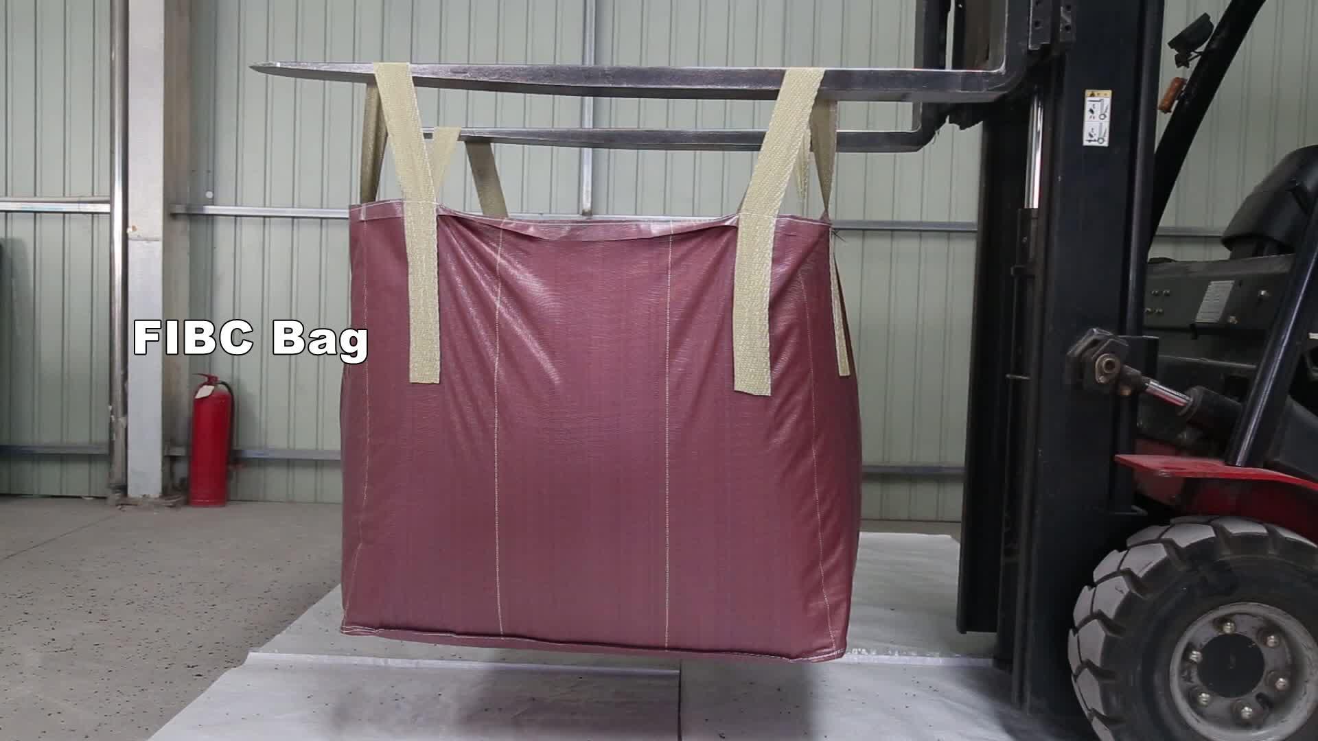 1 トン PP fibc バルクコンテナ砂バッグ過ロック縫製をスタック層高 UV 処理抵抗