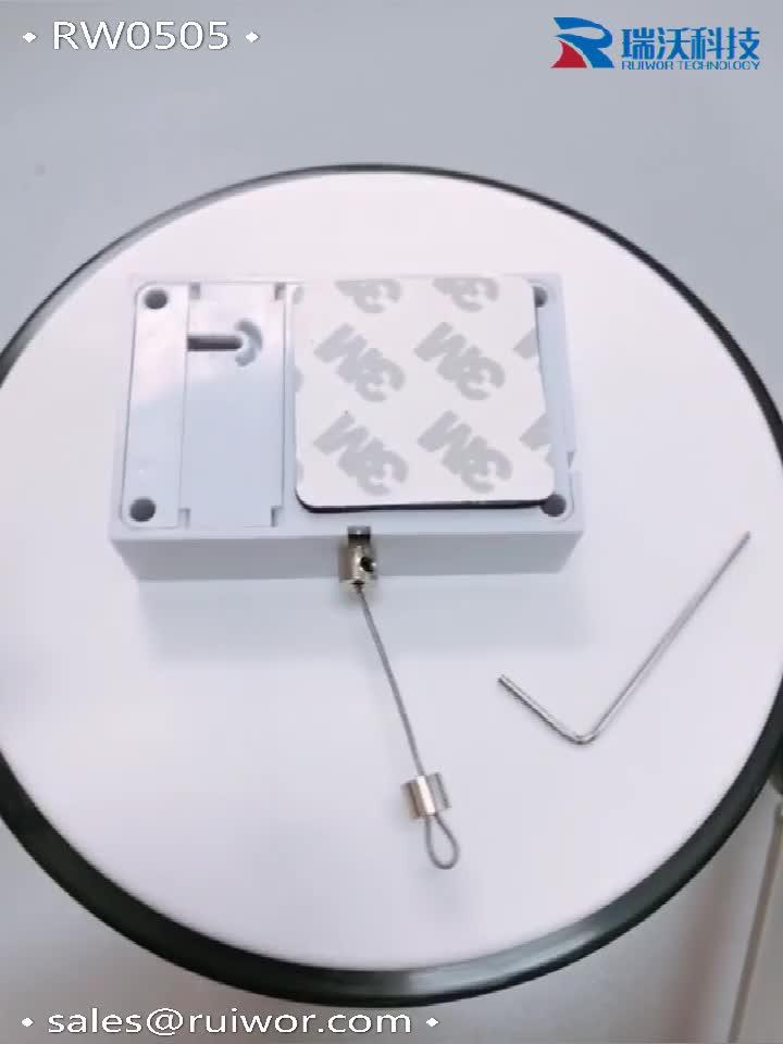 RUIWOR RW0505 Quader Anti-diebstahl Kabel Recoiler mit Adjustalbe Lasso Loop End durch Metallic Schloss und Allen Schlüssel