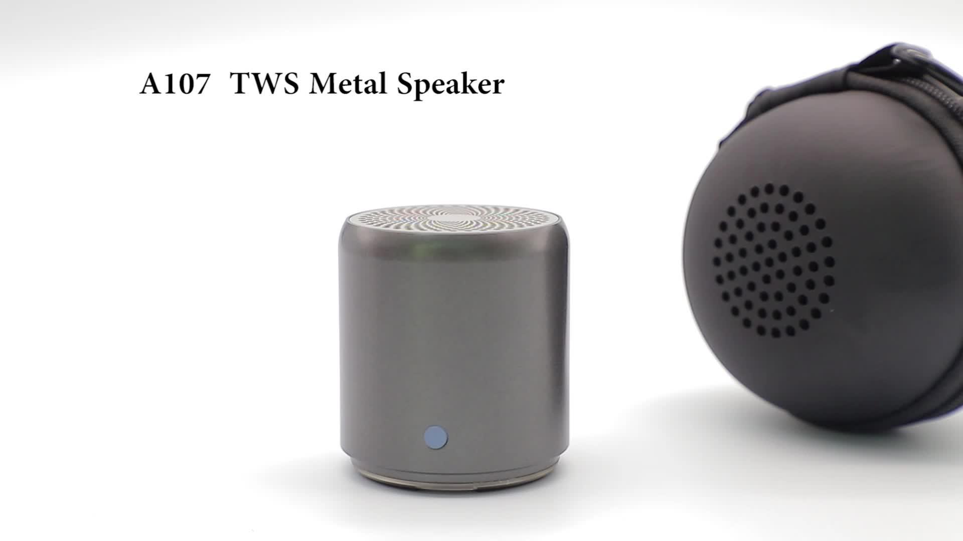TWS A107 EWA Mini BT Gêmeos WirelessSpeaker Portátil de Metal clássico Do Bluetooth Estéreo de Som