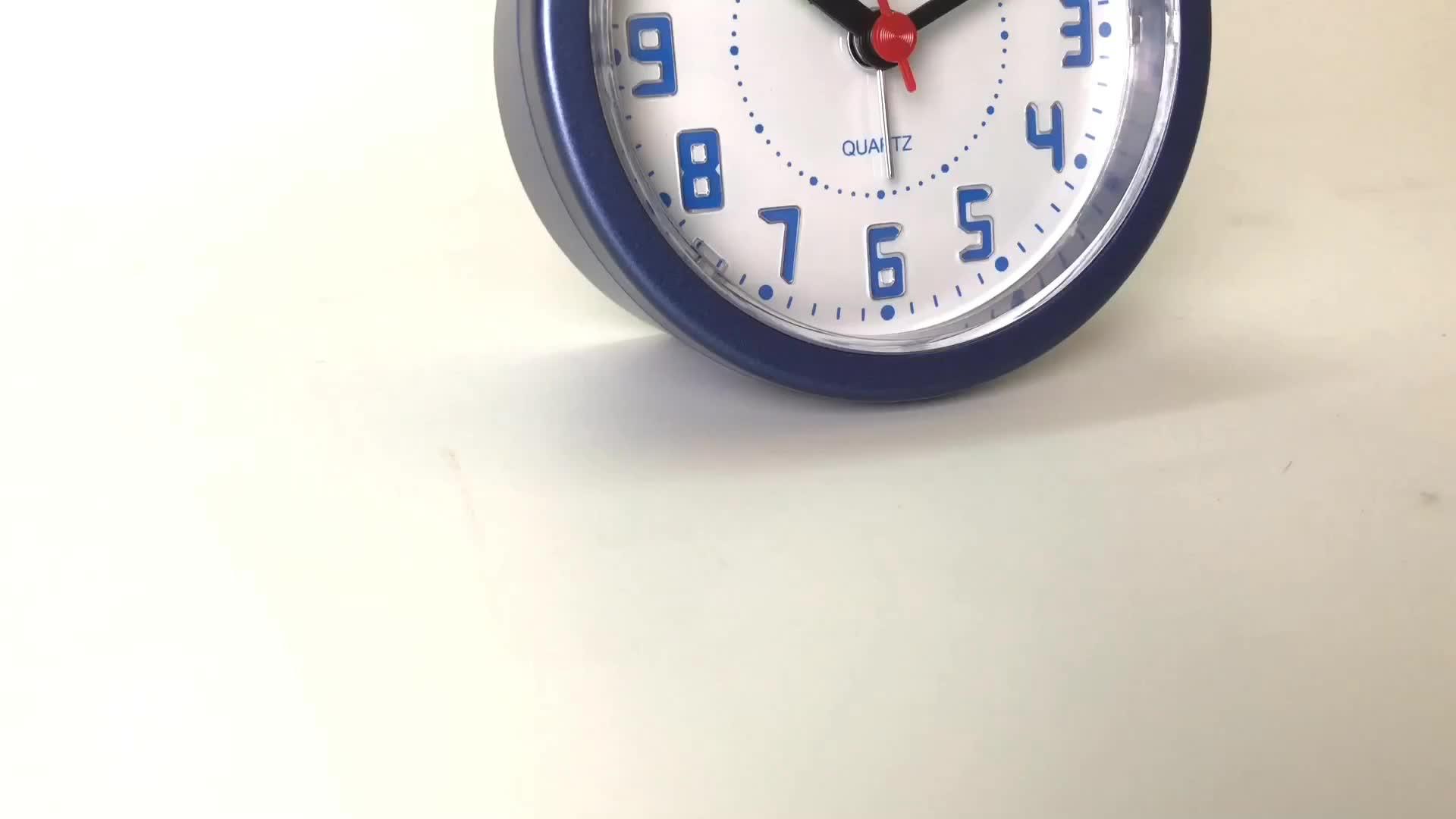 Bb09202 Dekoratif Mewah Bulat Mewarnai Dekoratif Plastik Signifikan Lampu Besde Meja Jam Alarm dengan Led Light