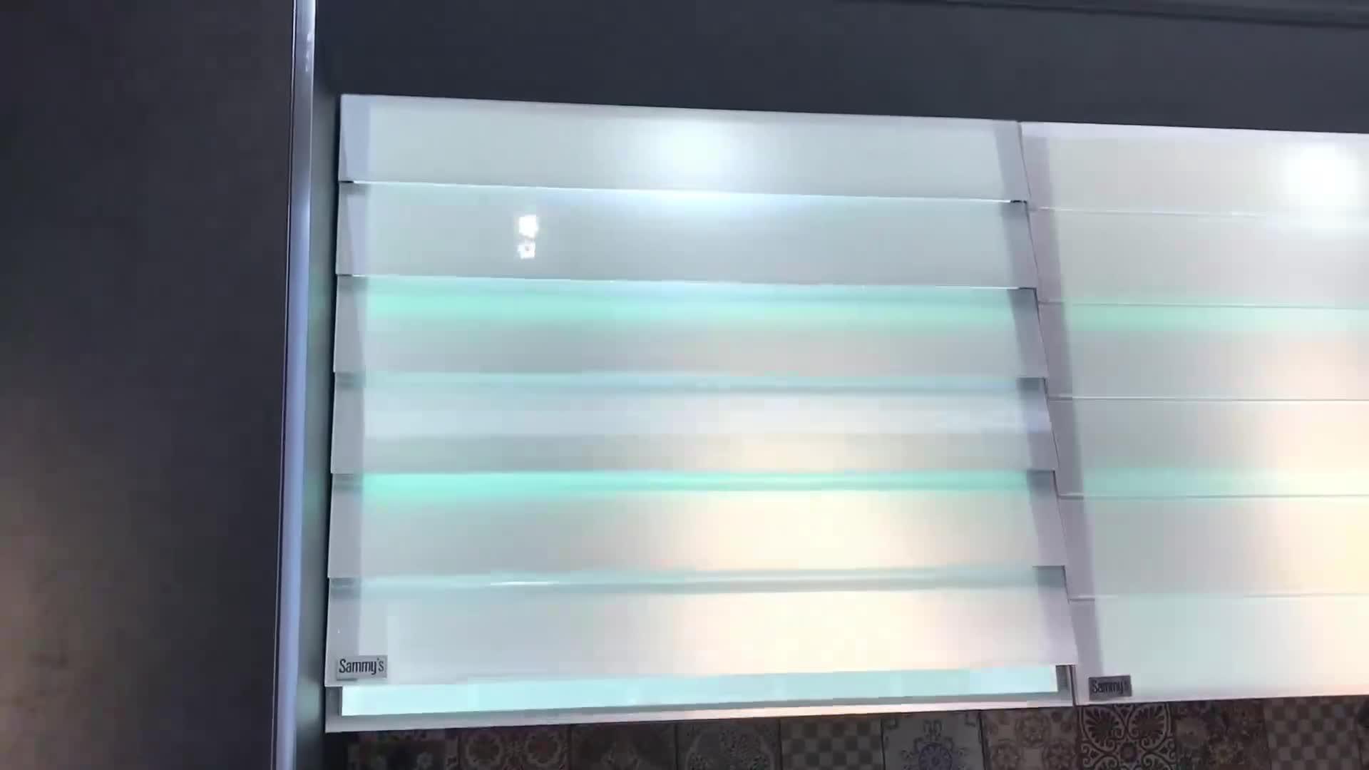 Kleine küche designs aluminium glas moderne küche schrank design gehärtetem glas tür