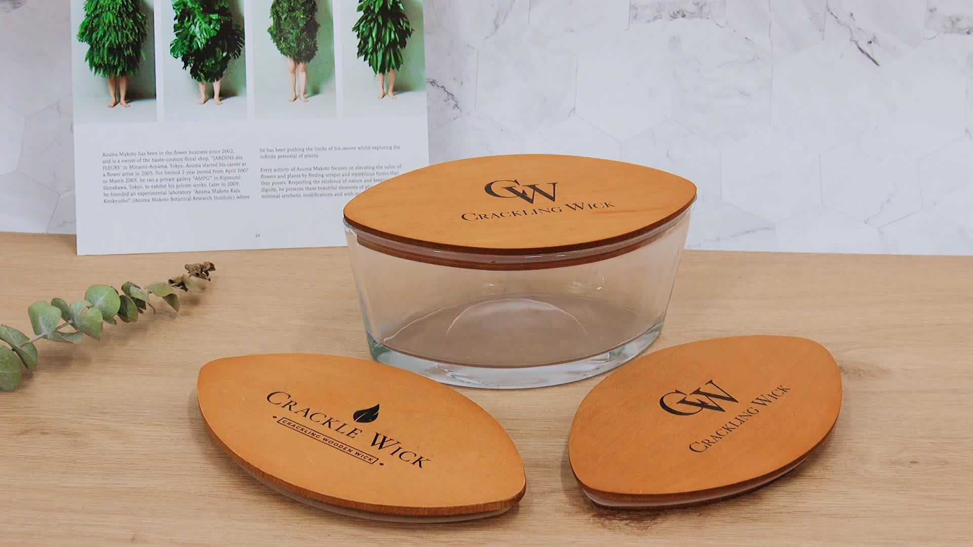 Vietnam hot sale light brown wooden lid oval sealed mdf candle cover silk printing large glass jar lid