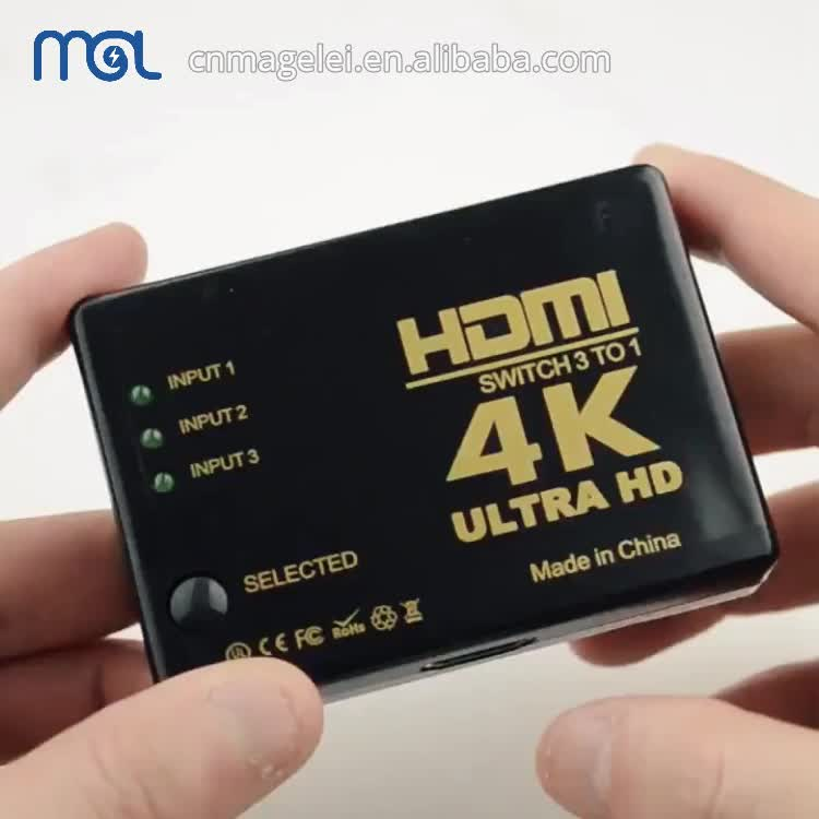 In Lager HDMI Schalter 4K High Speed HDMI Splitter 3x1 3 In 1 Out Ultra HD HDMI switcher mit Fernbedienung Infrarot Kabel