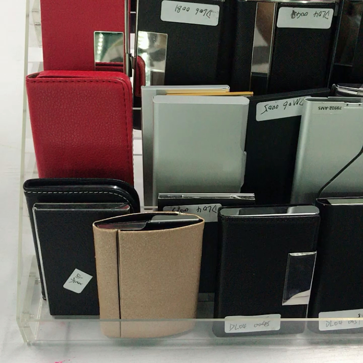 New arrivals metal pu leather card wallet magnetic rfid blocking stainless steel custom business card holder case