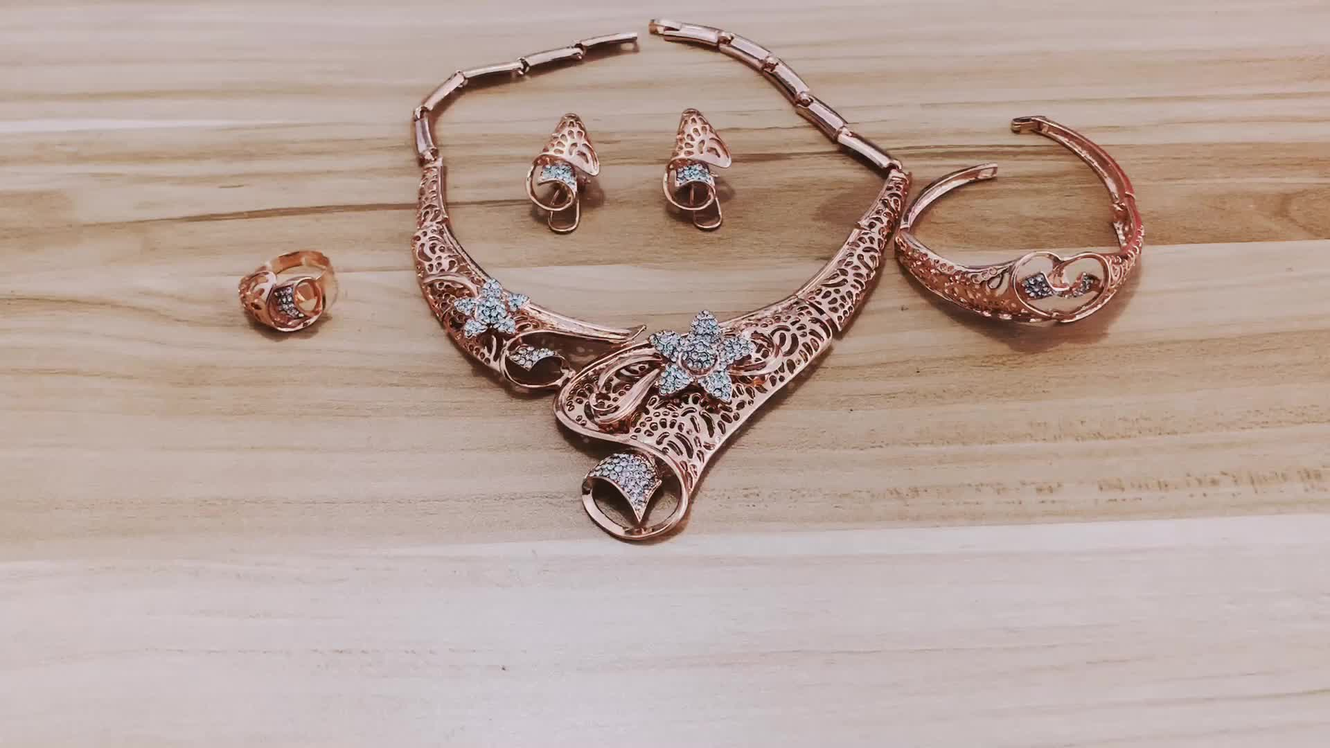 Gold plated african wedding bridal jewelry sets women