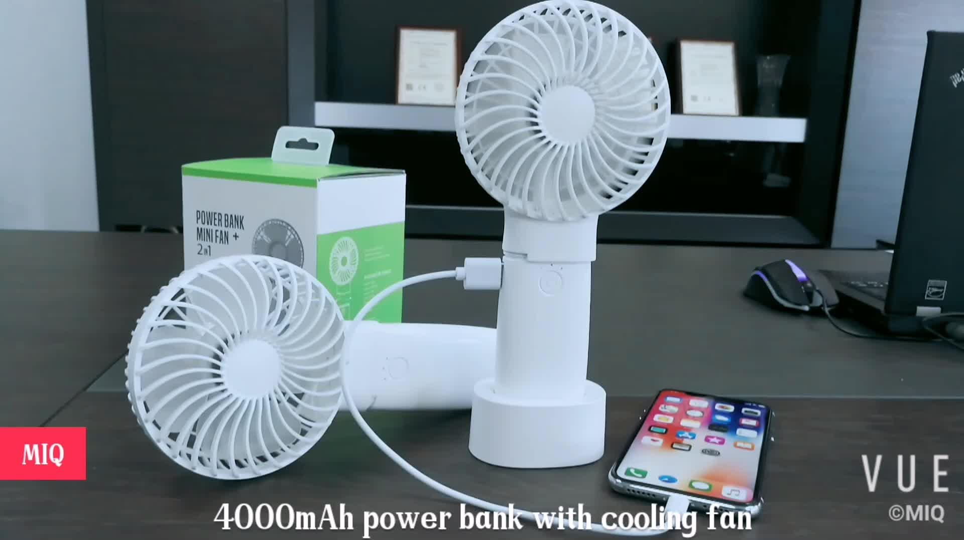 MIQ Standing desktop fan Hot sale air cooler rechargeable mini fan with power bank and led light