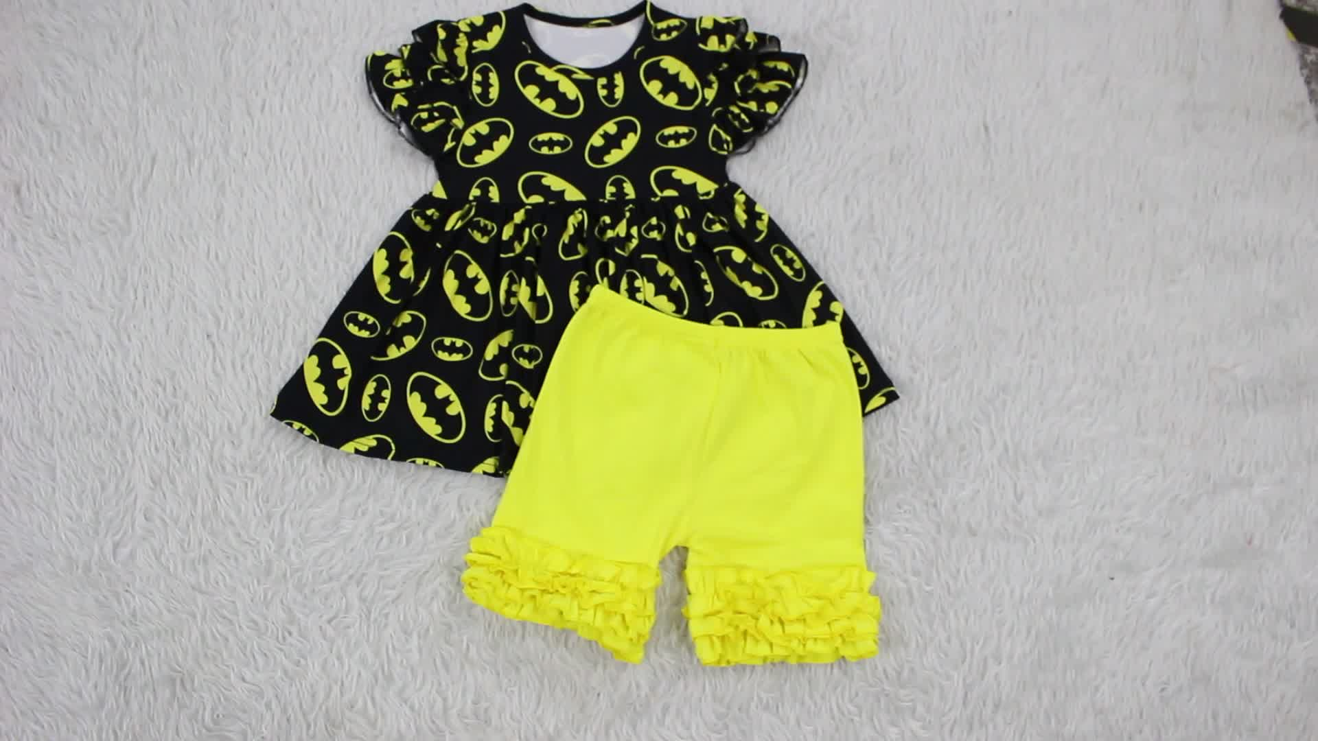 Boutique Girls Clothes Set Wholesale Summer Toddler Girls Mermaid Printed Tops and Pink 0-12T Short Sleeve Outfits