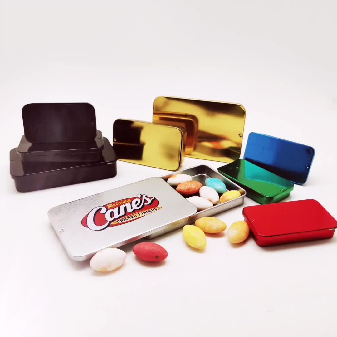 Nhà Máy Cổ Phiếu Đẩy Kéo Hai Mảnh Tin Có Thể Trượt Kim Loại Phẳng Hộp Thiếc Cho Thuốc, Nhai Kẹo Cao Su, Kẹp Tóc, Band Aid Slide Top Tins