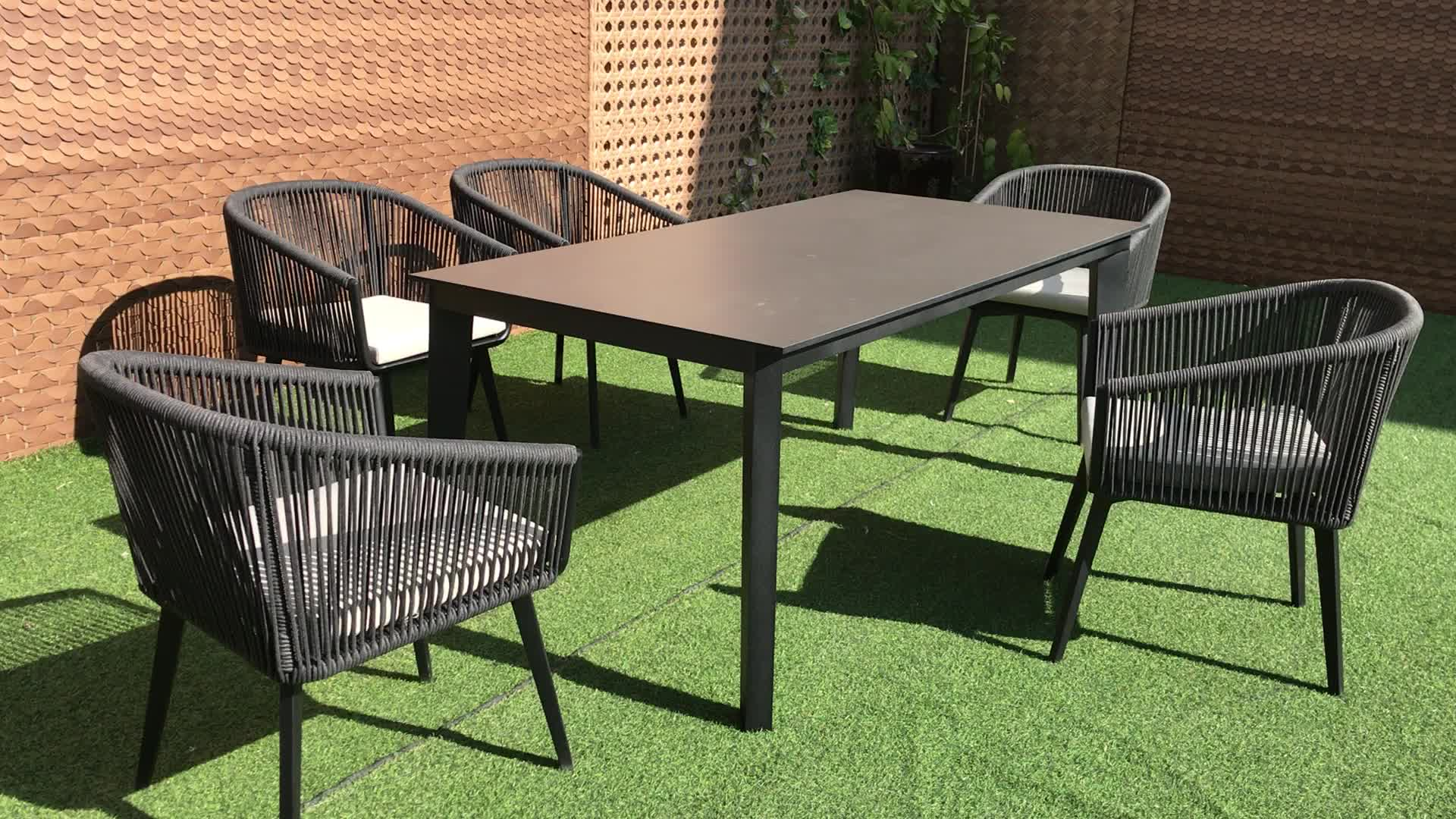home furniture dining room table hotel restaurant garden table HPL aluminum table dining sets outdoor