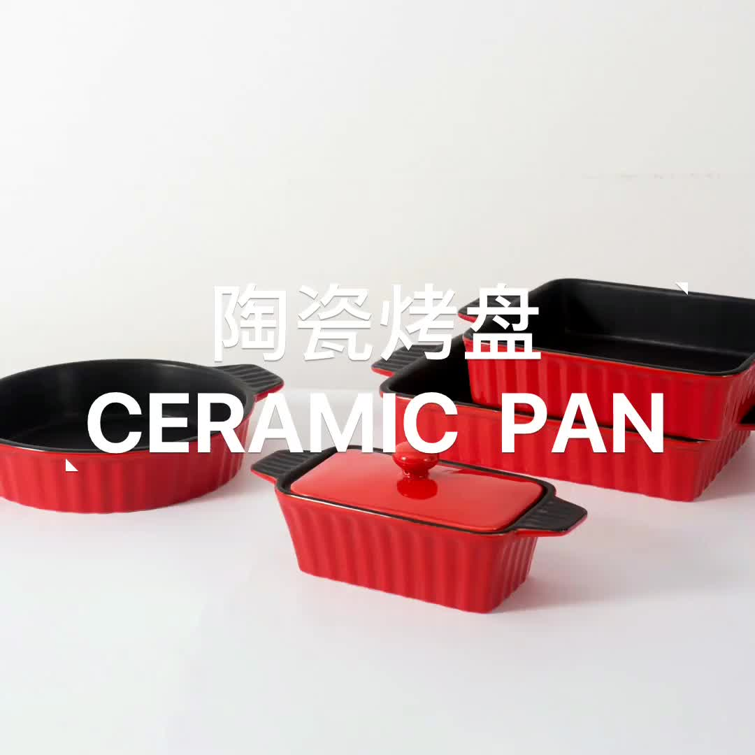 wholesale 10inch square ceramic baking dish with handle for oven microwave cake casserole kitchen bakeware tray set