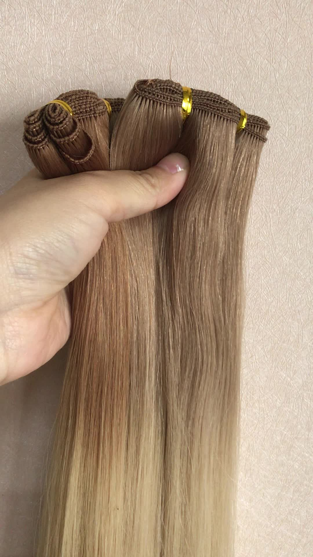 Greathairgroup Top Quality Hair Extension Hand Tied Skin Weft Silky Straight European Remy Human Hand Tied Hair Weft