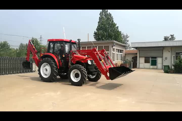 4WD Agriculture Tractor with backhoe loader