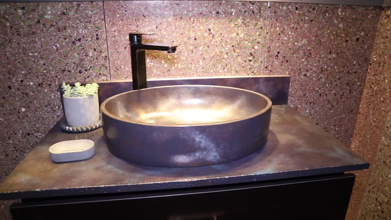 Counttop lavaggio della resina di cemento bacini, pietra lavabi fornitori e gli esportatori dalla Cina