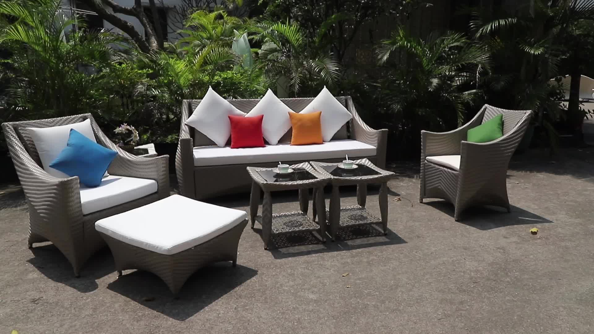 High Quality Project Customized Patio Garden Waterproof Ratan Sofa Furniture Set
