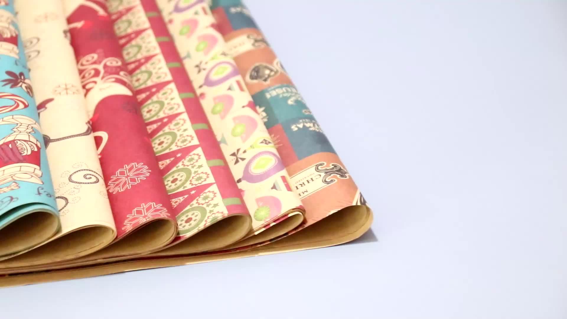 Рождественская упаковка сигаретная бумага коричневый крафт-бумаги, высокое качество, креативные заказной Подарочный рулон оберточной бумаги