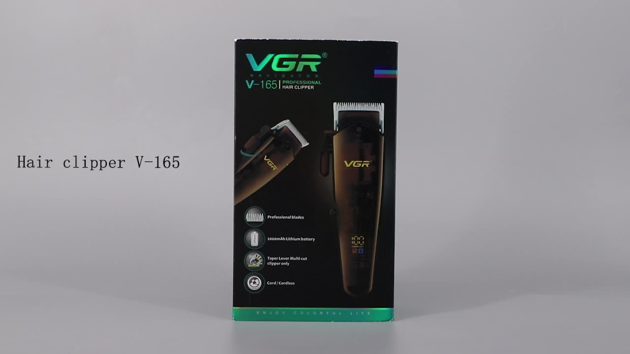 VGR V-189 Professional Barber Use Hair Clipper Electric Rechargeable Hair Trimmer With LED Display