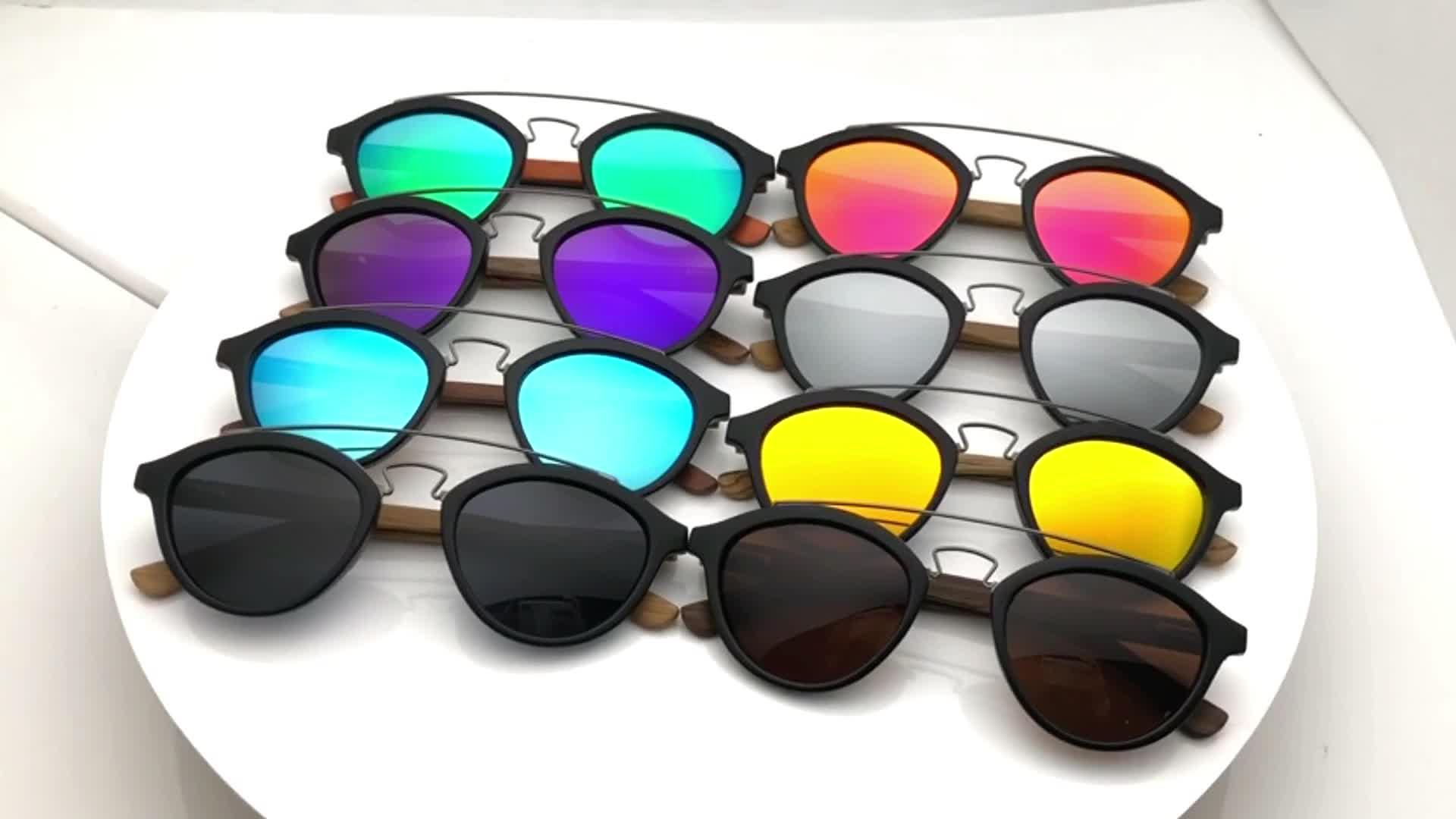 2019 Verão Atacado UV400 Polarizada Óculos De Sol De Bambu Handmade Eco Friendly Madeira Óculos de Sol