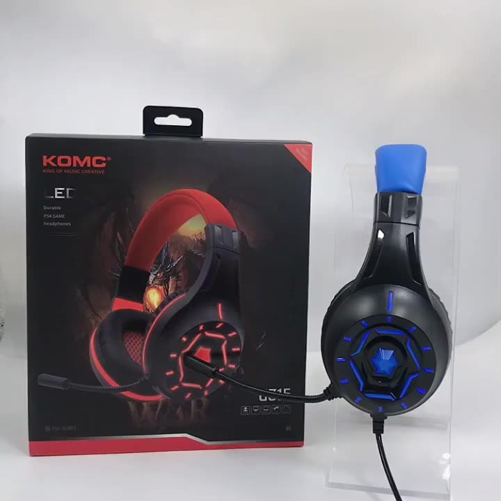 Komc Factory Hot-selling PS4 Gamer Headset Wired Stereo Gaming Headphone with Microphone Switch and Led Light for Phone/PS4/Xbox