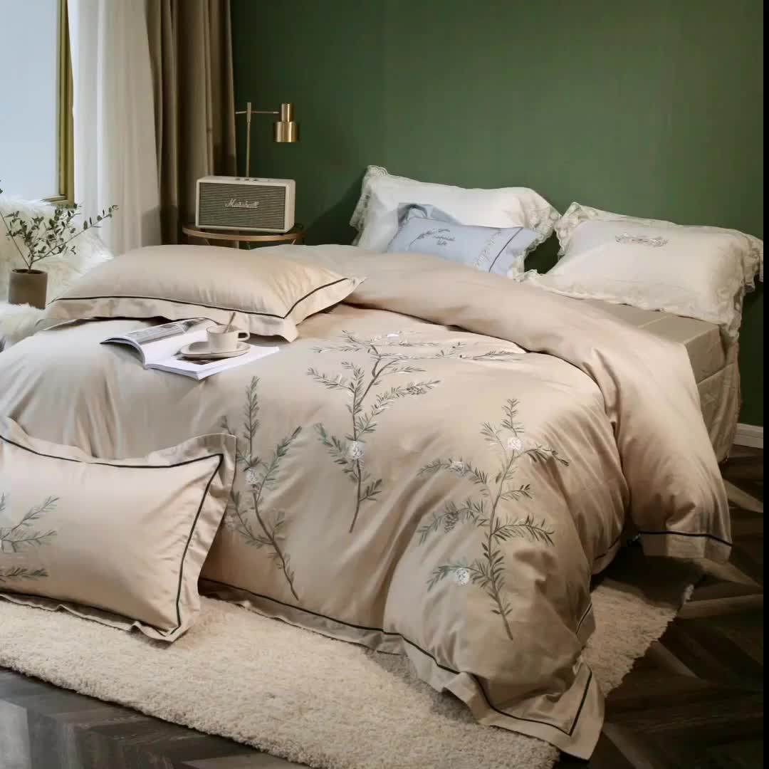 Luxury 4pcs embroidery design bedding set 300 tc cotton brown colour duvet cover and flat sheet and two pillowcases