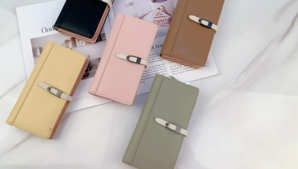 Purse women's long Korean version small fresh solid color simple Student Wallet multi card space large capacity outsourcing pock