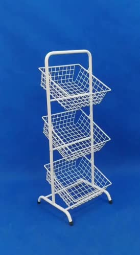 free standing Retail Shop promotion cosmetics merchandise display metal frame rack holder 3 Tiers Wire Basket Stand fixture