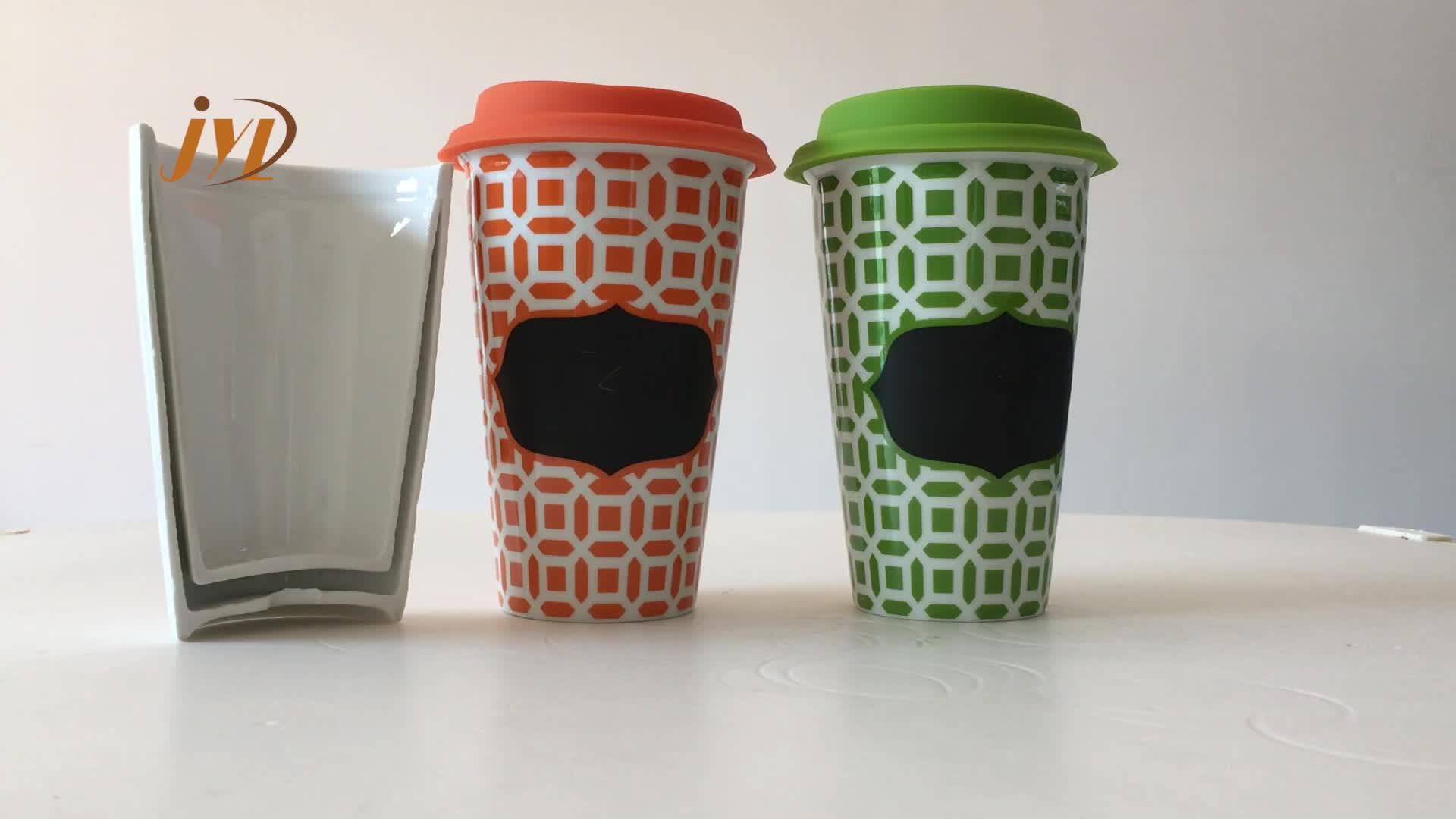 مصنع السبورة الحديثة يتوهم السيراميك رخيصة لطيف كوب مزدوج الجدار هدية القهوة القدح بالجملة