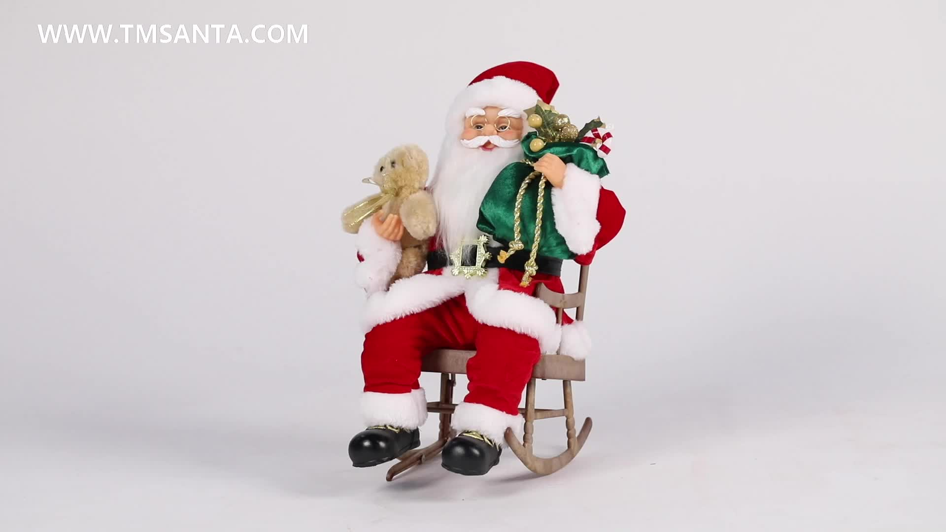 40cm Christmas Animated Santa Claus with Rocking Chair Musical Ornament Decoration Figurine Traditional Xmas Holiday Collection