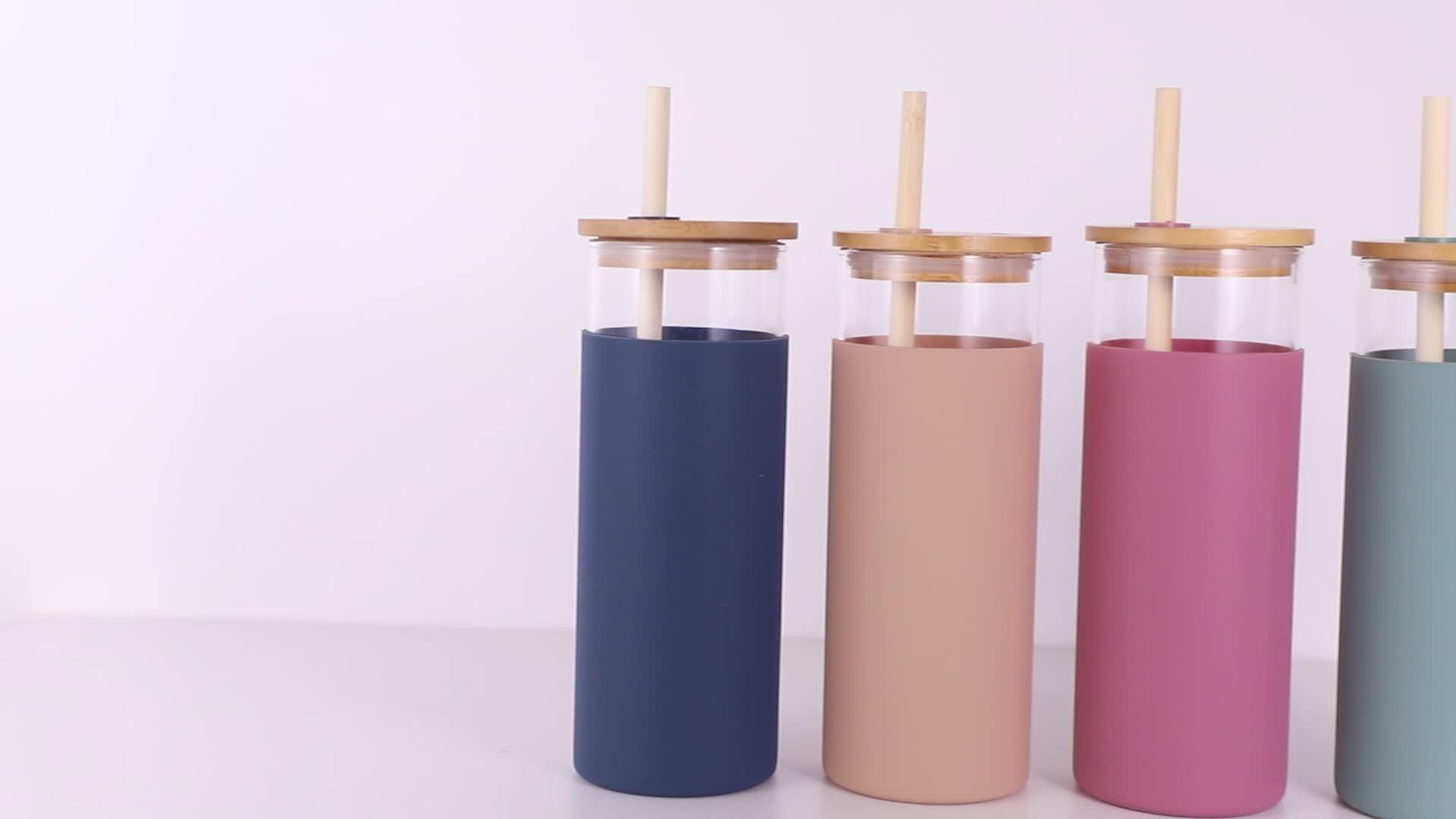 Небьющиеся 500 мл экологически чистые bpa бесплатные стеклянные бутылки для воды с соломой