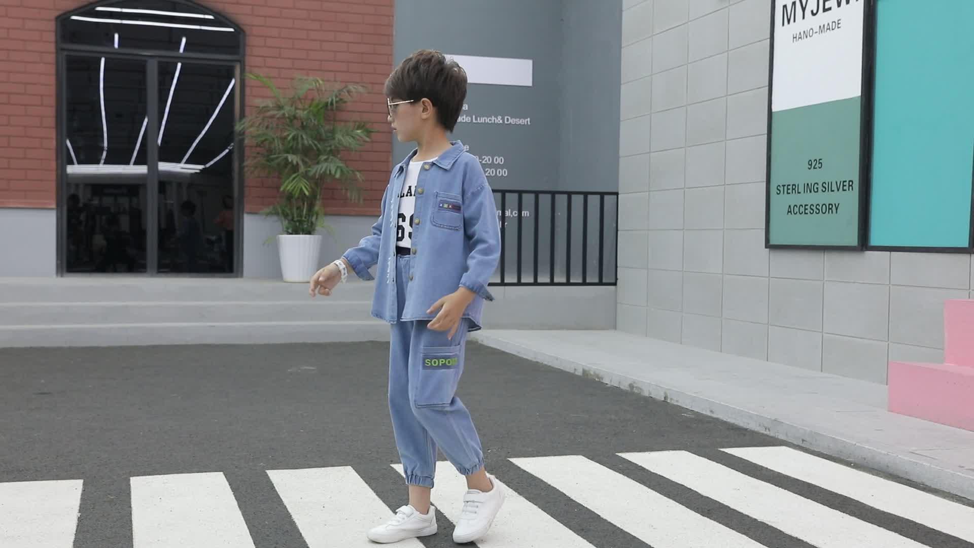 Groothandel Kinderkleding Denim Jas En Jeans Sets Kids Jongens Denim Kleding Set Voor Lente Herfst