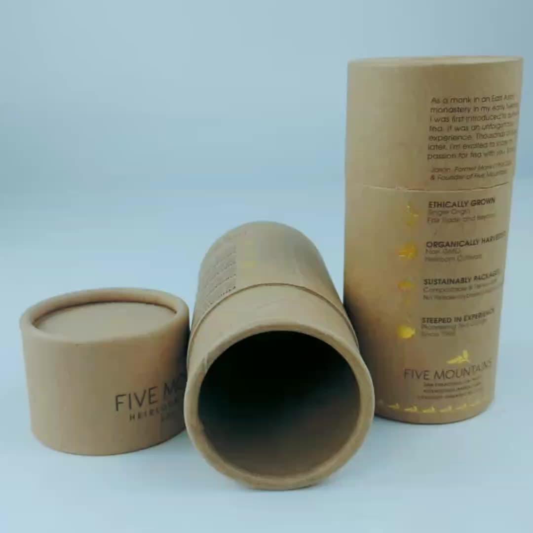 Luxus top grade zylinder runde kraft papier rohr box für geschenk/lebensmittel/tee/tuch verpackung
