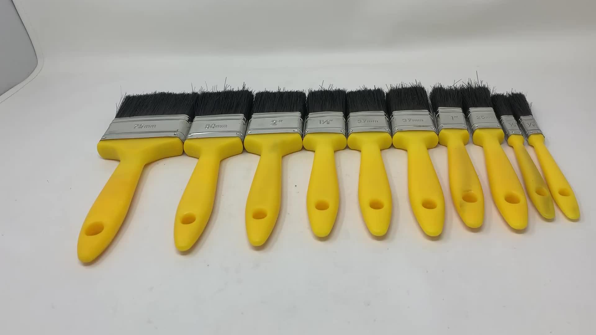Multi Größe Gelb Kunststoff Griff Pinsel Set 10PK Malerei Werkzeuge