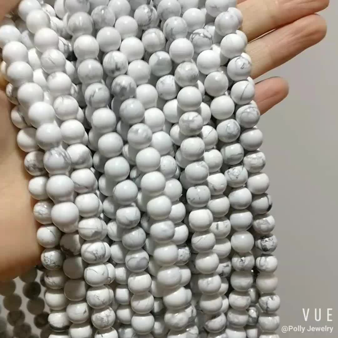 High Quality Natural Stone Size 8mm White Howlite Turquoise Stones Gemstone Bead Loose Strand