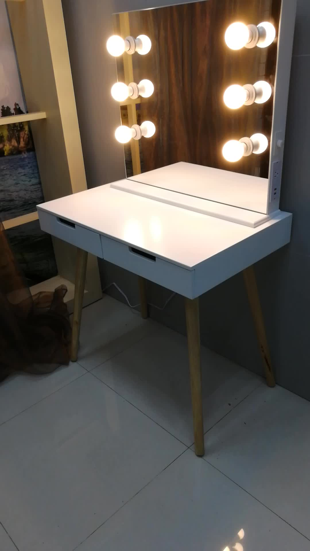 Wooden make up table with LED light with adapter , charger and USB charge