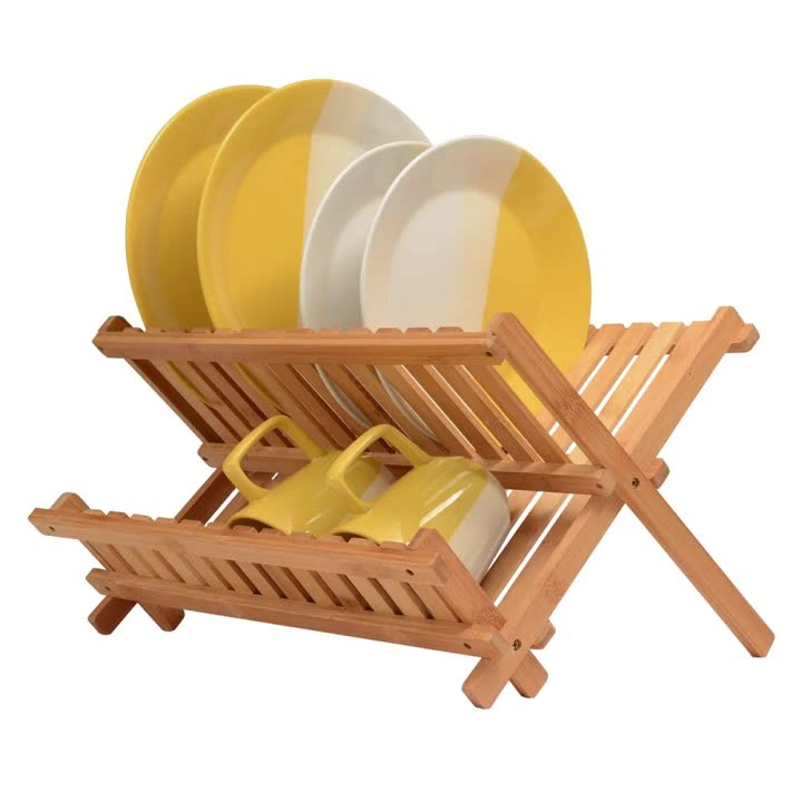 Collapsible Dish Drying Rack - Bamboo Kitchen Folding Dish Rack & Plate Holder | Compact & Foldable Dish Drainer