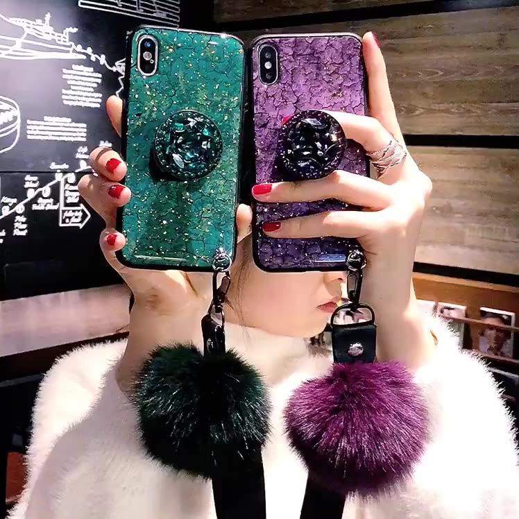 Glitter Mengkilap Diamond Fox Plush Bola Berbulu Epoxy Phone Case untuk Vivo Iqoo 3 V15 S1 Pro Penutup Belakang dengan Pemegang Stand