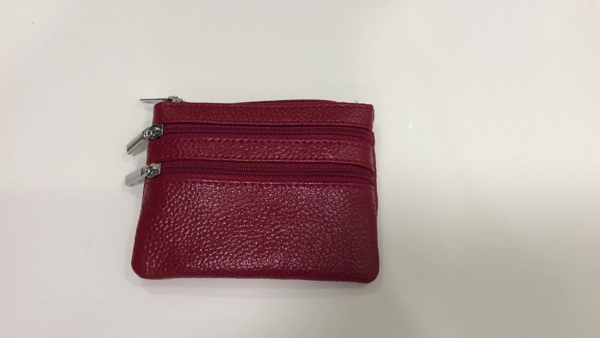 卸売カスタム格安ミニマルチポケットジッパー pu レザーコイン財布