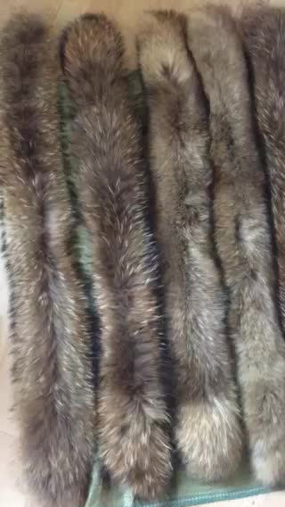 Raccoon Fur Collar For Down Coat Hood Trim Long Fur
