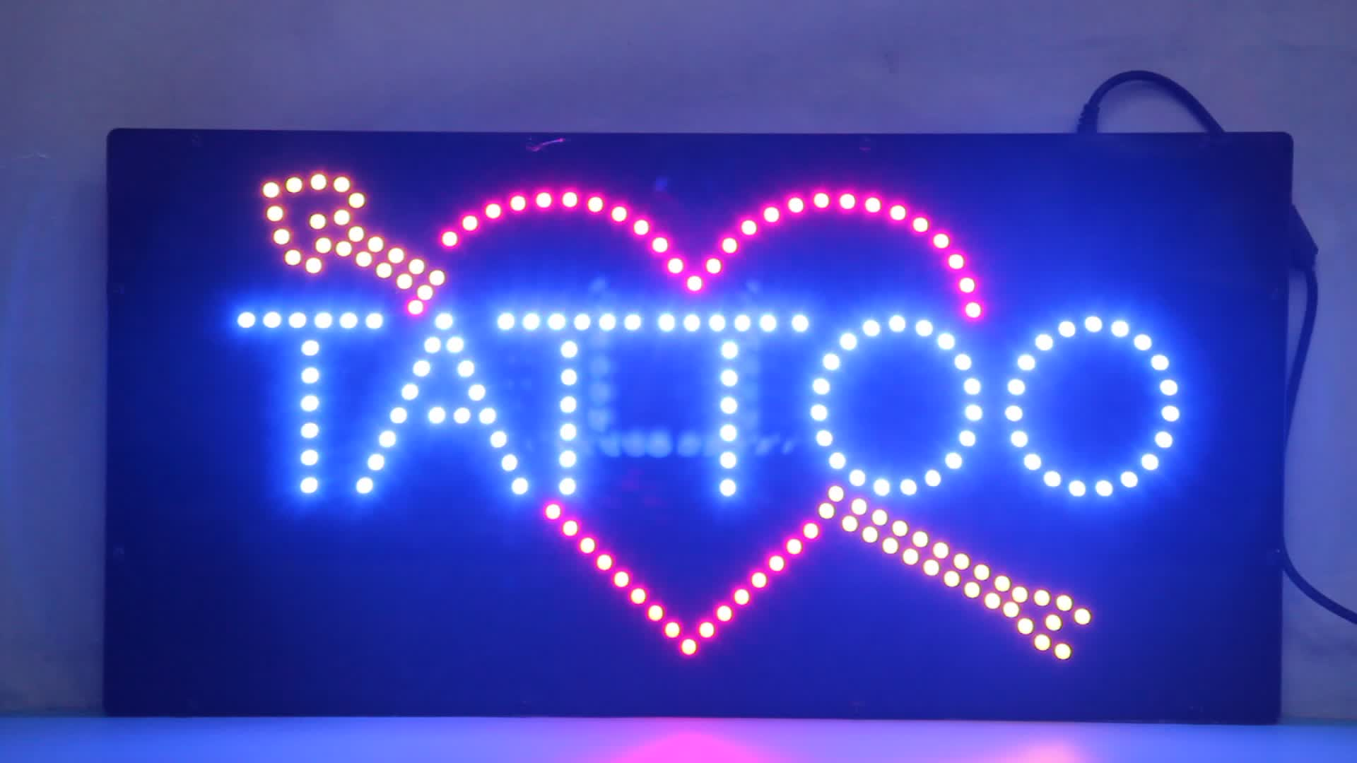 9*19'' LED Open Sign, Super Bright Eye Catching Tattoo Sign, Cheap Advertising Acrylic LED Sign for Tattoo Shop