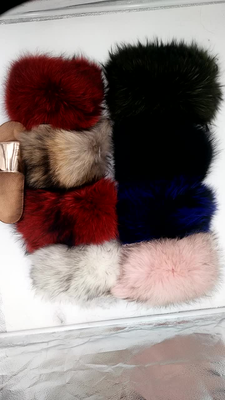 Factory wholesale raccoon fur for slides raccoon trims for slippers