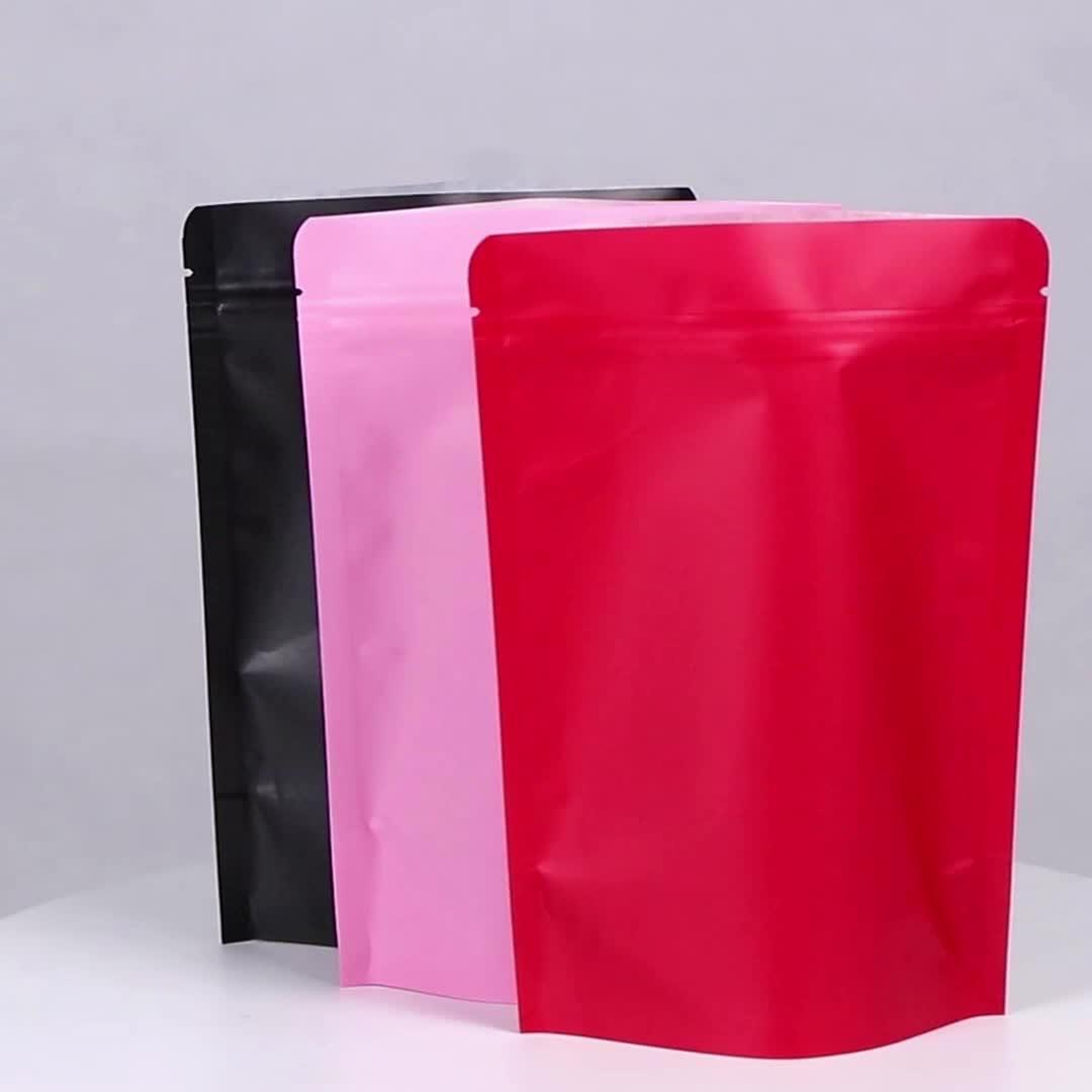 Stokta renkli stand up kraft kağıt torba sızdırmazlık paketleme çantası kahve kabul özel