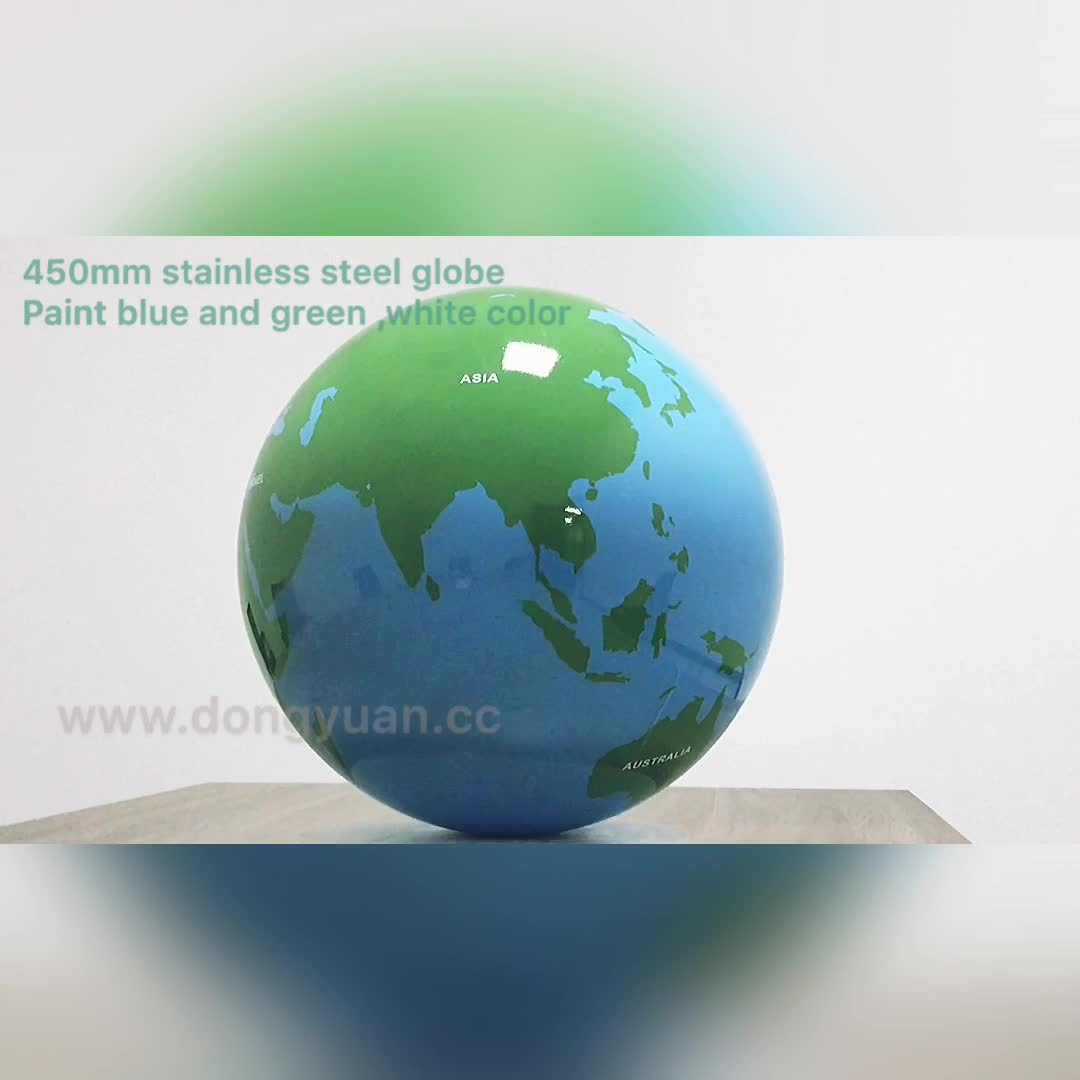 450mm Stainless Steel Globes  , World Map Spheres with Blue and Green Color for Garden Outdoor Park  Decoration